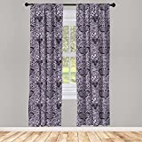 Ambesonne Gothic Curtains, Black Lace Style Needlecraft Pattern with Ornate Flowers Feminine Victorian Motifs, Window Treatments 2 Panel Set for Living Room Bedroom Decor, 56' x 84', Black Lilac