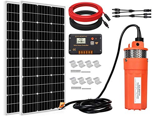 ECO-WORTHY Solar Water Pump Kit System, 2pcs 100 Watts Solar Panel + 12V...