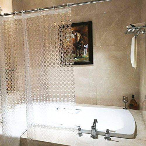 Rideau de douche Liner, résistant aux moisissures étanche, avec crochets Anneaux Transparent 3d Cercle Patter EVA pour maison Hôtel 180,3 x 180,3 cm