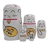 Lot de 5Lucky Cat empilage jouet poupée russe faite à la main en bois Jouet pour enfants Chambre d'enfant Décoration de chambre
