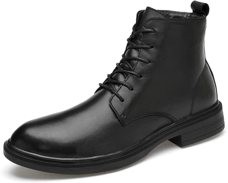 JIALUN-Schuhe Herren motorradkampfstiefel Stiefeletten Stiefeletten warme Schuhe schnüren echtes Leder Casual Outdoor (Farbe   Schwarz, Größe   38 EU)  bester Service