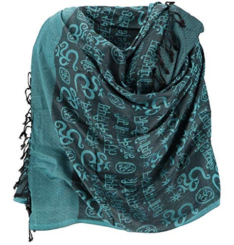 Guru-Shop Pashmina Viskose Schal/Stola mit OM Musterr, Herren/Damen, Petrol, Synthetisch, Size:One Size, 180x70 cm, Schals Alternative Bekleidung