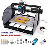 2-in-1 5500mw Laser Engraver CNC 3018 Pro-M Engraving Machine, GRBL Control 3 Axis Mini CNC Router Kit + Offline Controller + Router Bits, Working Area 300x180x45mm, for Wood Plastic Acrylic PVC