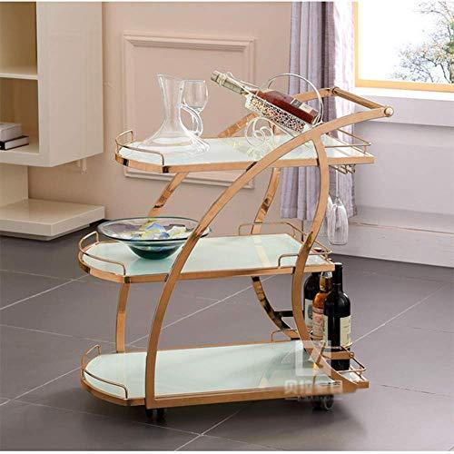 Serveertrolley met gehard glas, mobiele trolley gereedschapskar 3 tier metalen bar wijn thee water kar snack auto hotel restaurant levering auto (5 stijl), D