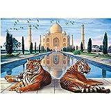 Kit de Pintura 5D con Diamantes de Imitación Diseño de Tigres Taj Mahal para Adultos y Niños Punto de Cruz Cuadros por Numeros Bordados con Diamantes Decoración de Hogar 40 x 30 cm