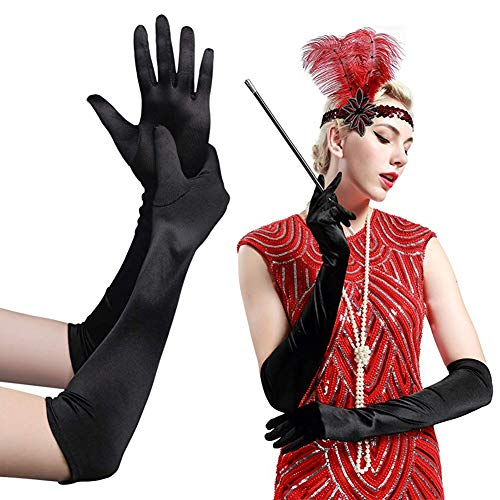 Damen Handschuhe Schwarz Satin Classic Opera Fest Party Audrey Hepburn Handschuhe 1920s Handschuhe Damen Lang Kurz Elastisch 55cm