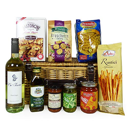 The Mamma Mia Food and White Wine Gift Hamper - Gift Ideas for Christmas, Valentines, Mother's Day, Birthday, Anniversary, Business and Corporate, Dad, Mum, Fathers Day, Thank you