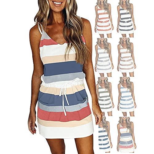 BODODO Damen Kleid mit V-Ausschnitt Elegant Kurze Strand Freizeitkleider Sommerkleid Streifen Loose T-Shirt Minikleid Sommer Kleider Hemdkleider Tops Roben - S M L XL XXL XXXL