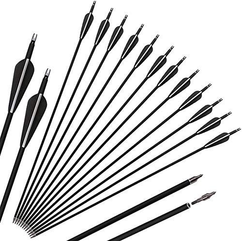 DZGN Tiro con Arco de Tiro con Arco de Carbono Flechas Spine 500 con Puntas extraíbles, Caza y Objetivo Flechas de prácticas -por Arco Compuesto y Recurve Bow,32inch