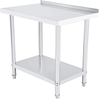 Consola de doble capa de acero inoxidable, mesa de trabajo, extraíble para cocina, fábrica, 91X61CM mit Kantenschutz, 6