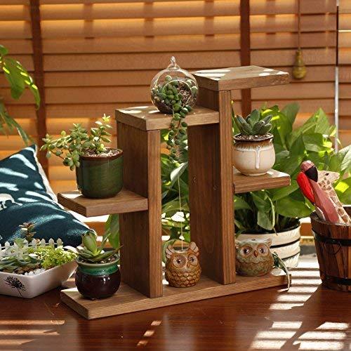 GWFVA Afwerkingspot voor bloempotten. Koolzuurhout-massief houten standaard bloem woonkamer woonkamer balkon vloer stijl rekken multi-level bloem standaard grenen stijl staat Potted Plant Sta