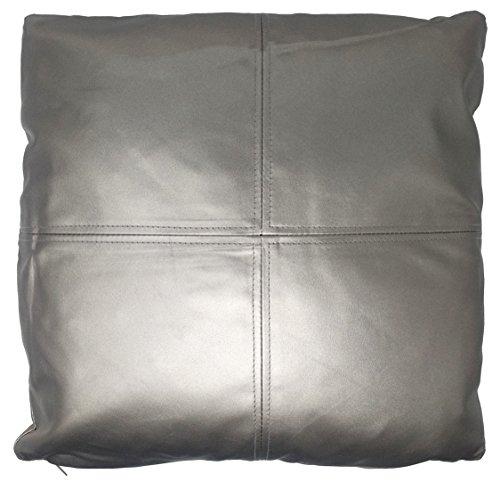 UK Care Direct Housse de coussin imitation cuir Argenté 43 cm