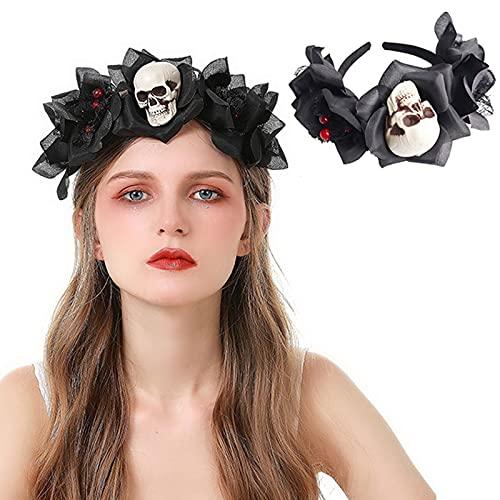Comforty Diadema del da de los muertos para Halloween, diadema con crneo, banda para el pelo para Halloween, carnaval, fiesta
