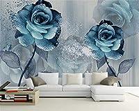 壁画壁紙写真家カスタム3D壁紙水彩色青美しい花テレビ背景壁壁紙家の装飾-120x100CM