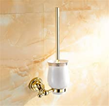 Durable Toilet Brush Toilet Brush Holders Plated Wall Mounted Toilet Brush Holder with Ceramic Cup Household Products Bath...