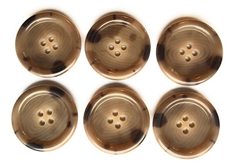 6 HORN TAILORED COAT BUTTONS , GRAVEL BROWN COLOR # 7012 LINE 50 -1-1/4