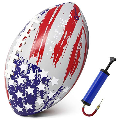 PP PICADOR Kids Football Size 3 Grip Rugby Ball for Kid Boys Girls Gift with Pump Ideal Toss Kick Practice-Indoor Outdoor use(USA Flag)