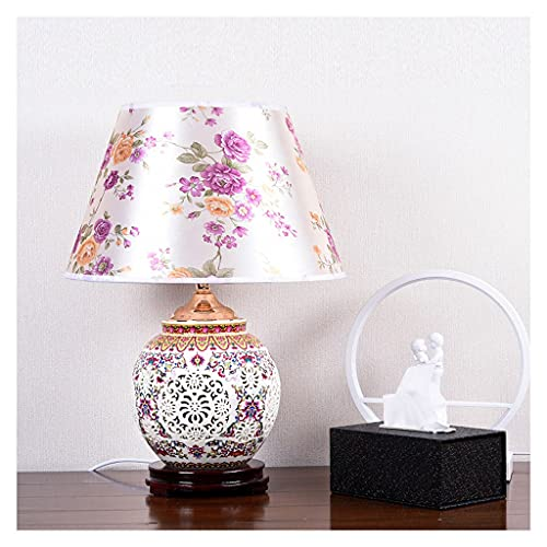 Lámpara de Mesa Lámpara de mesa china tradicional asiática de la mesa de porcelana azul y blanca lámpara de escritorio de la cama de la cama hueca de la tela impresa de la tela de la tela de la tela I