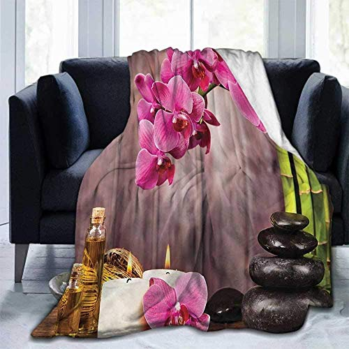 XZHYMJ Spa Lightweight Cozy Blanket Super Soft Throw Blanket fit Couch Sofa Suitable for All Season Orchid Flowers Rocks Bamboo