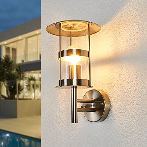Lindby Edelstahl Wandlampe aussen IP44 | Wandleuchte aussen silber | Außenbeleuchtung Wand, Hof, Garten, Terrasse, Balkon | Aussenleuchte Wand