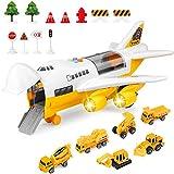 WZRY Voitures Miniatures, Jouets de Voiture de camions de Construction avec Avion Cargo de Transport de Roue d'inertie, Mini-véhicule d'ingénierie éducatif pour Enfants, garçons, Filles,Jaune
