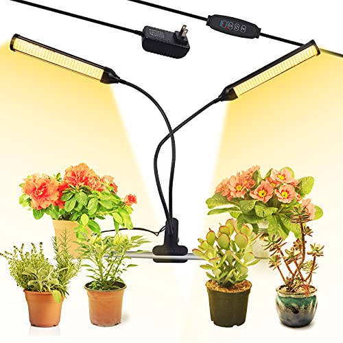 LED Grow Light, 300 LED 100W Full Spectrum Plant Grow Lamp with Timer, 10 Dimmable Level, 3 Switch Mode, 360° Growing Light for Indoor Plants, Dual Head LED Plant Light for Seedling Blooming Fruiting