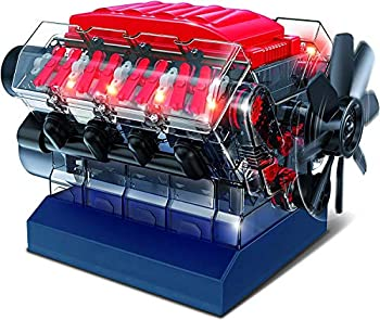 Playz V8 Combustion Engine Model Building Kit STEM Hobby Toy for Kids & Adults with DIY Guide & Realistic Parts Including Timing Belt Cylinder Heads Spark Plugs Pistons Ignition Wires and More