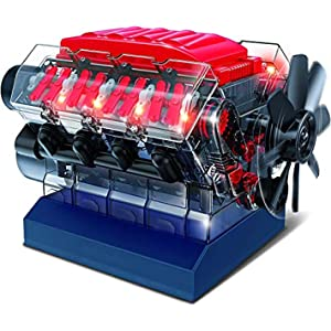 Playz V8 Combustion Engine Model Building Kit STEM Hobby Toy for Kids & Adults with DIY Guide & Realistic Parts Including Timing Belt, Cylinder Heads, Spark Plugs, Pistons, Ignition Wires, and More