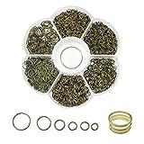 Toaab - Lote de 1500 anillas de salto para anillos abiertos de hierro de joyas, cadena de eslabones 4 mm, 5 mm, 6 mm, 8 mm, 10 mm, bronce con caja para manualidades
