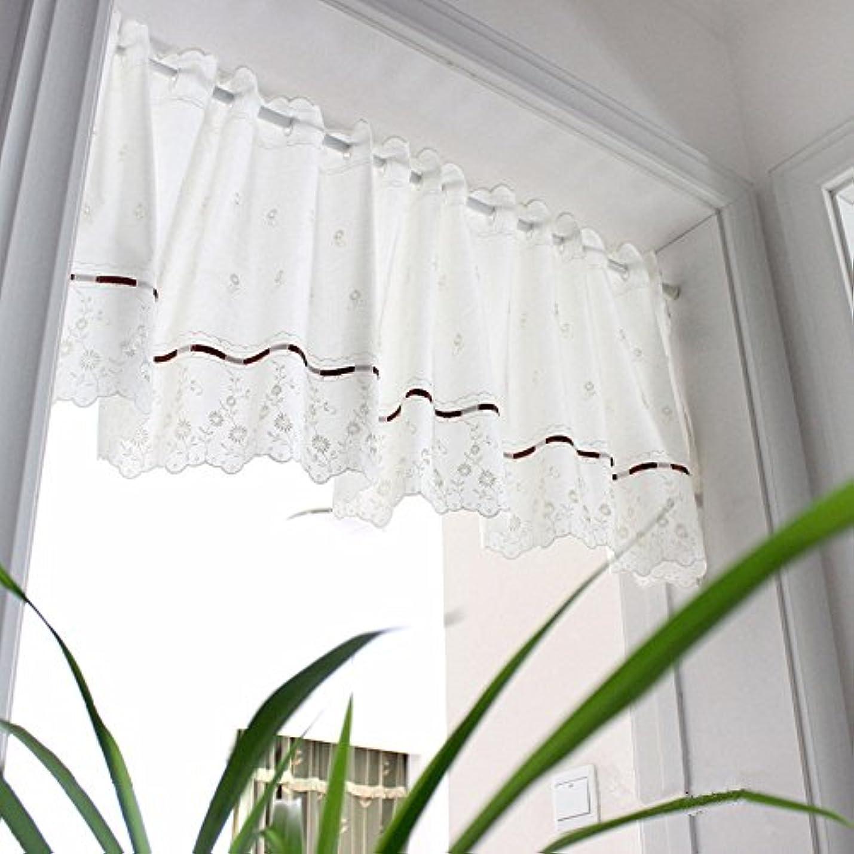 哲学博士かろうじて幹WPKIRA カフェカーテン遮光北欧刺繍入り花柄 カーテン 目隠し小窓用 カフェカーテンレース 1枚 幅100cmx丈45cm