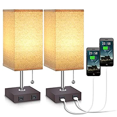 USB Table Desk Lamp, Acaxin Bedside Lamp with Dual USB Quick Charge Port, Wood Desk Lamp, Black Charger Base with Unique Fabric Shade, LED Light Nightstand Desk Lamps for Bedroom Living Room Set of 2