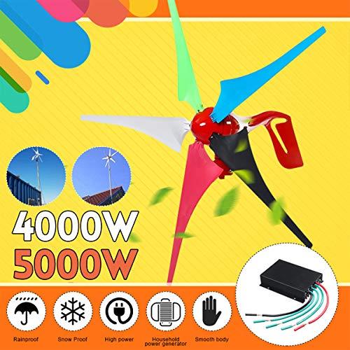 zhangchao 4000W Windturbine Generator, AC Permanent Wind Turbine Generator 5-Blades Haushaltsstromerzeuger W/Controller für Solar-Straßenbeleuchtung,24v