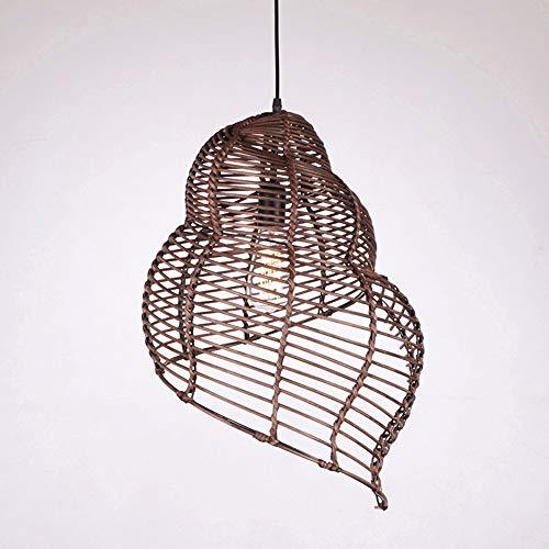 E27 hanglamp hanglamp van Header bamboe en rotan landelijke stijl hanglamp Conch vorm binnen verlichting hanger licht voor slaapkamer eetkamer eettafel gang hal, ø 25 cm Deepcolor