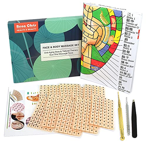 Multi-Condition Ear Seeds Acupuncture Kit, Facial Reflexology Tools, with Acupuncture Ear Press Seeds 600Pcs, Acupuncture Pen, Acupressure Ear Chart, Tweezers
