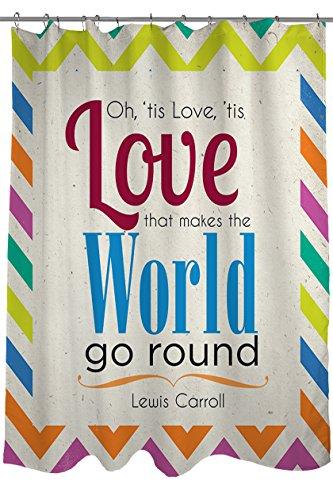Handmatige Houtwerkers & Wevers stof douchegordijn, liefde maakt de wereld gaan ronde Lewis Carroll Quote