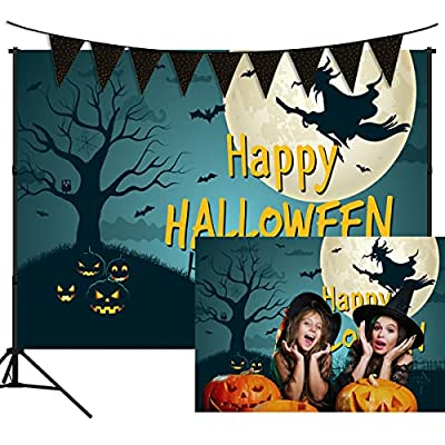 Halloween Backdrop with Black Banner Background...