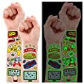 Partywind Luminous Video Game Party Supplies Temporary Tattoos for Kids, 158 Styles Glow Gamer Gaming Birthday Decorations for Boys Party Favors, Fake Tattoo Stickers Gifts for Gamer by Partywind