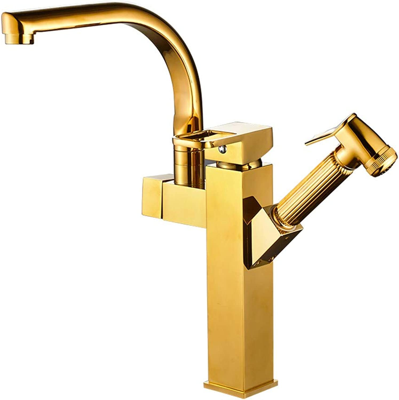 MulFaucet wasserhahn armatur hahn Wasserleitung Faucet Goldauszug warmes und kaltes Waschbecken Waschbecken Teleskopauszug