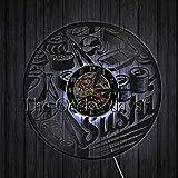 xcvbxcvb Sushi Cocina Japonesa Cocina Reloj de Pared Retro Cocina Japonesa Reloj de Tiempo de grabación de Vinilo Habitación única Reloj de Cocina Decoración