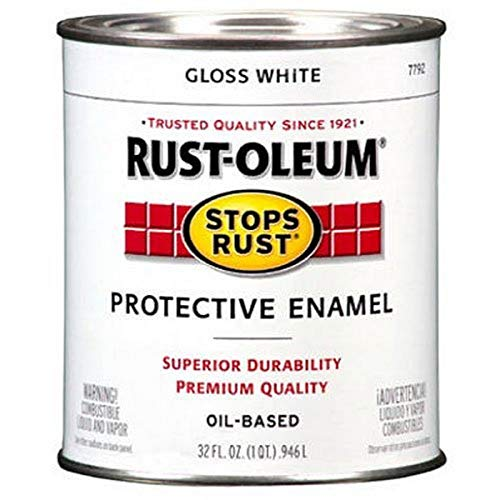 Rust-Oleum 7792502 Stops Rust Brush On Paint, Quart, Gloss White