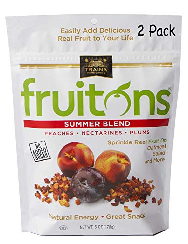 Traina Home Grown Fruitons California Sun Dried Summer Blend Fruit Mix  Peaches Nectarines and Plums No Sugar Added Non GMO Gluten Free Kosher Certified 6 oz pouch pack of 2