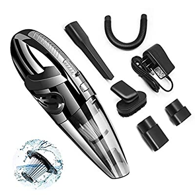 Handheld Car Vacuum, DYTesa Strong Suction Portable Car Cleaner with Cordless, 120W Rechargeable Wet and Dry Vacuum Cleaner, for Pet Hair, Home and Car Cleaning