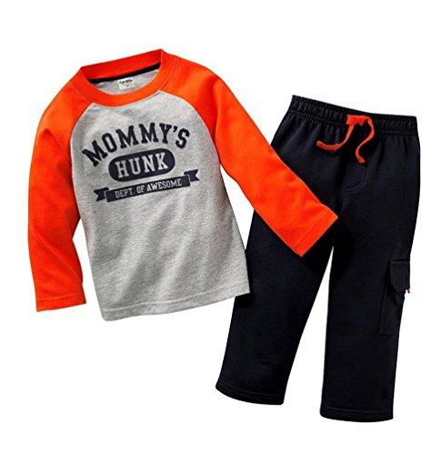 Coralup Little Boys and Girls Truck Lapel T-Shirt & Pants 2pcs Set A911(18M,Blue)