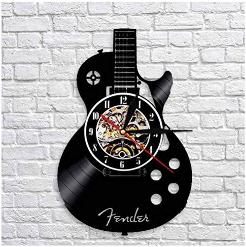 Vinilo Pared Reloj Guitarra de Instrumento Musical Disco Retro un Reloj de Pared Grande con un Tema Regalo Creativo del Reloj de Pared Hecha a Mano 12 Pulgada(Sin Luces)