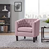 BELLEZE Elegant Berlinda Upholstered Tufted Barrel Chair Roll Armrest Accent Club Chair Living Room, Wooden Legs, Linen, Light Purple