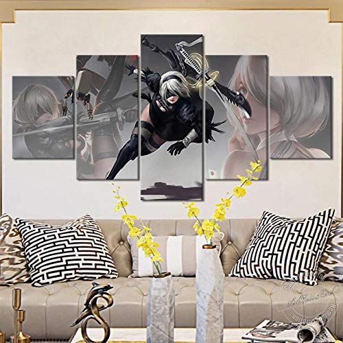 baixiangguo Espada Nier Automata 2B Cuadro En Lienzo Moderno De 5 Piezas, Impresión En Lienzo HD, Imagen Artística para Pared, Póster, Decoración del Hogar (con Marco) -60