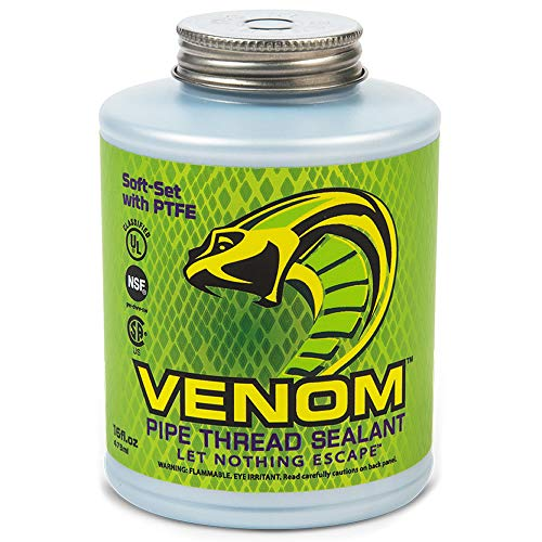 Venom VM16 Pro-Grade Soft-Set PTFE Pipe Thread Sealant for Any Type of Piping, 16 fl.oz Bottle with Brush applicator Cap