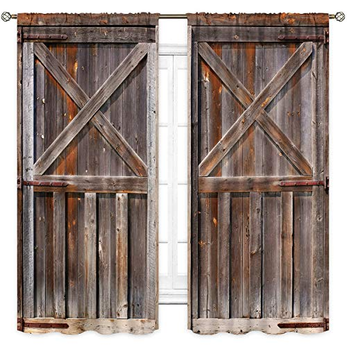 Cinbloo Rustic Wooden Garage Door Curtains Rod Pocket Brown Vintage Barn Farmhouse Western Country Printed Living Room Bedroom Window Drapes Treatment 2 Panels 42 (W) x 63(L) Inch