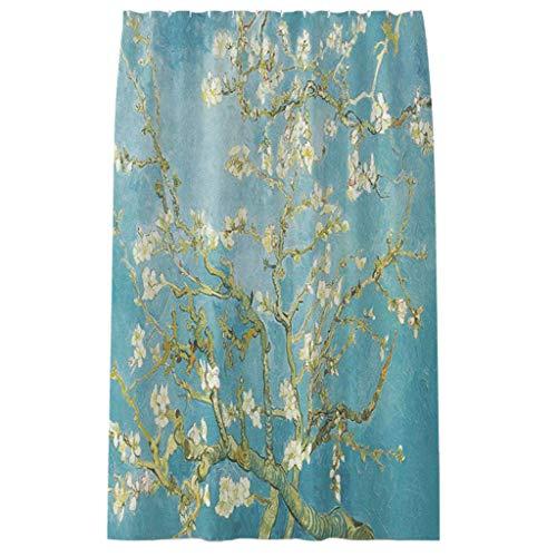 UYZ Waschbarer Hochleistungs-Duschvorhang Blooming Apricot Branch Quality Polyester wasserdichte Badezimmervorhänge Gewichteter Saum