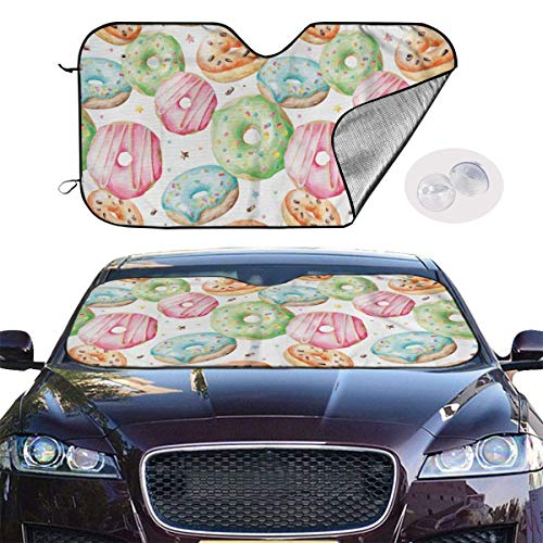 mchmcgm Sombrilla protectora Doughnuts Hand Drawn Yummy Tasty Auto Windwhield Sun Shades Universal Fit 51,2 x 27,6 Inch Window Keep Your Vehicle Cool Visor for SUV Sunshade Cover